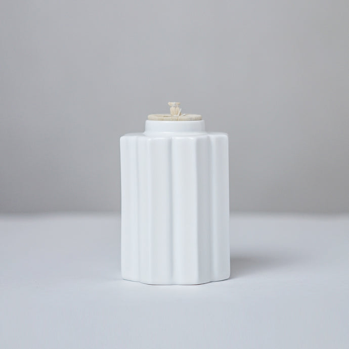 White Ceramic Canister - Fallen Leaves