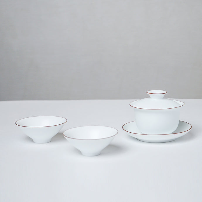 White Ceramic Gaiwan Set
