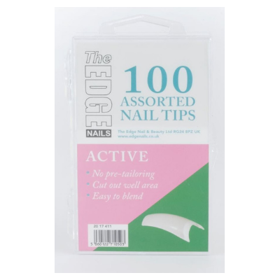 The Edge Active Nail Tips Assorted Pack of 100 - Revolution Nail Supplies