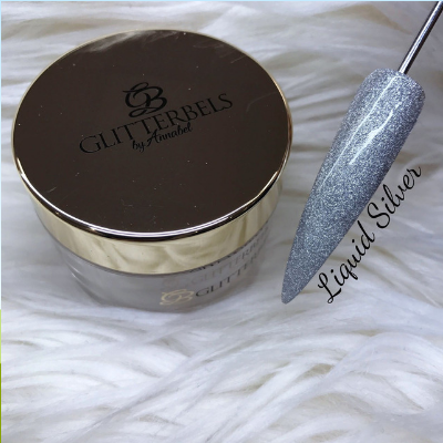 Glitterbels Acrylic Powder Liquid Silver 28g - Revolution Nail Supplies