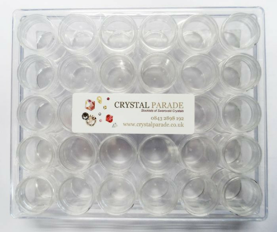 Clear Storage Box with 30 Clear Jars - Revolution Nail Supplies