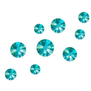 Swarovski Shimmer Crystals Mixed Sizes - Blue Zircon Shimmer Pack of 200 - Revolution Nail Supplies