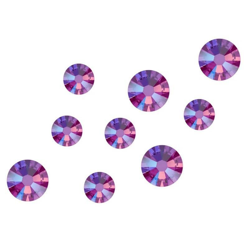 Swarovski Shimmer Crystals Mixed Sizes - Fuchsia Shimmer Pack of 200 - Revolution Nail Supplies