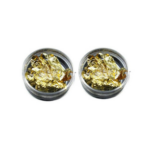 Nail Art Leaf Flakes Gold 3g Pot Pack of 2 - Revolution Nail Supplies