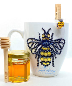 AFRO Glam Collection - Limited Edition - Honey Beeyonce (black / gold / gold pearls) coffee tea cup