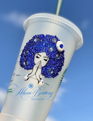 Reusable travel cups, iced coffee, tea, Afro Glam