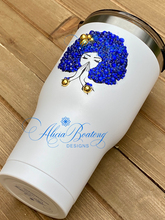 Load image into Gallery viewer, Afro Glam 30oz. Tumbler, Afrocentric, hot or cold beverage, bling coffee, cold drink, iced tea