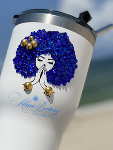 Afro Glam 30oz. Tumbler, Afrocentric, hot or cold beverage, bling coffee, cold drink, iced tea