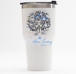Afro Glam SYLVIA Tumbler Set, Afrocentric, hot or cold beverage, bling coffee, cold drink, wine