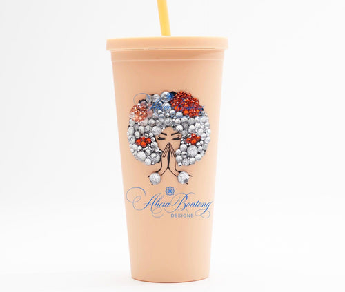 Afro Glam Tangela CLASSIC 22.oz Acrylic Tumbler.  Afrocentric, cold beverage, bling coffee, iced tea