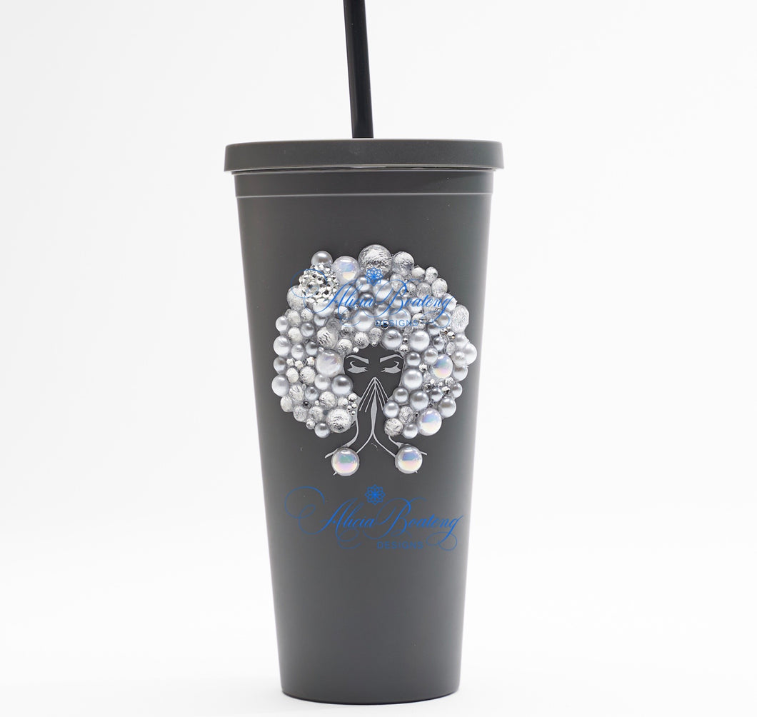 Afro Glam Sylvia CLASSIC 22.oz Acrylic Tumbler.  Afrocentric, cold beverage, bling coffee, iced tea