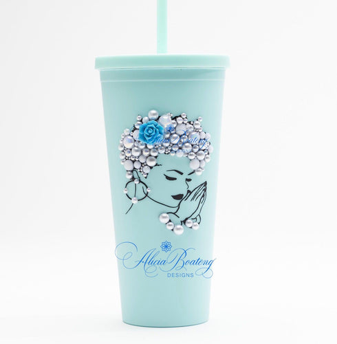 Afro Glam FlorAnne CLASSIC 22.oz Acrylic Tumbler.  Afrocentric, cold beverage, bling coffee, iced tea