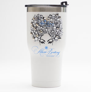 Afro Glam PRISCILLA Tumbler Set, Afrocentric, hot or cold beverage, bling coffee, cold drink, wine