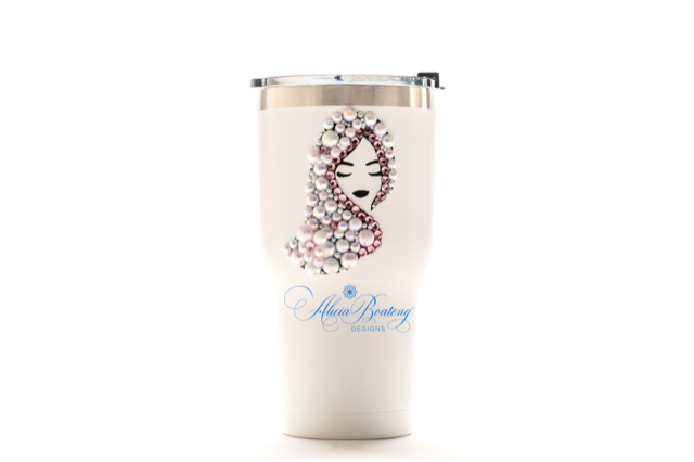 Afro Glam ALYSSA 30oz. Tumbler, Afrocentric, hot or cold beverage, bling coffee, cold drink,