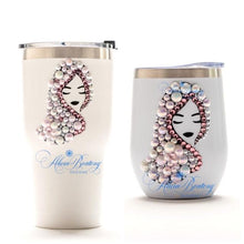 Load image into Gallery viewer, Afro Glam ALYSSA Tumbler Set, Afrocentric, hot or cold beverage, bling coffee, cold drink, wine