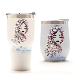 Afro Glam ALYSSA Tumbler Set, Afrocentric, hot or cold beverage, bling coffee, cold drink, wine
