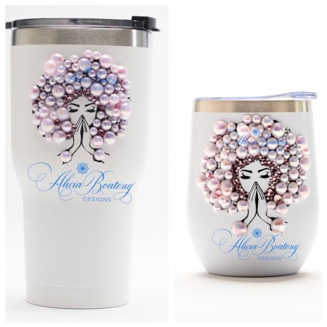 Afro Glam CARRIE Tumbler Set, Afrocentric, hot or cold beverage, bling coffee, cold drink, wine