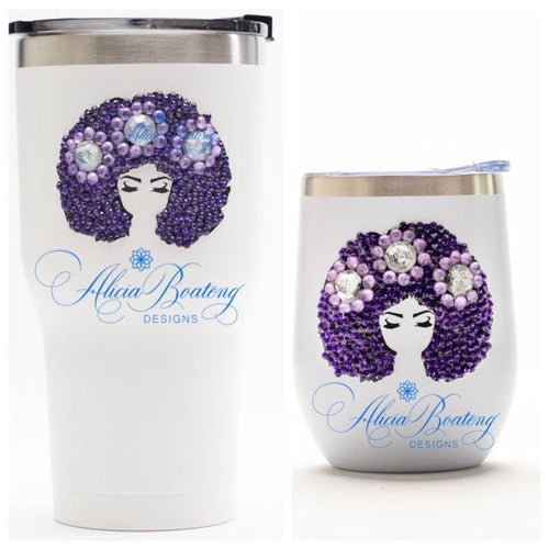 Afro Glam LAYLA Tumbler Set, Afrocentric, hot or cold beverage, bling coffee, cold drink, wine