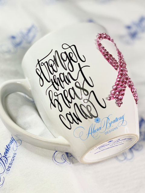 Stronger than Cancer Breast Cancer Coffee / Tea cup, Bling Coffee Cup,