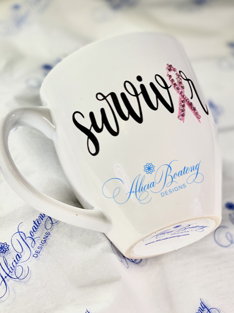 Breast Cancer SURVIVOR Coffee / Tea cup, Bling Coffee Cup,
