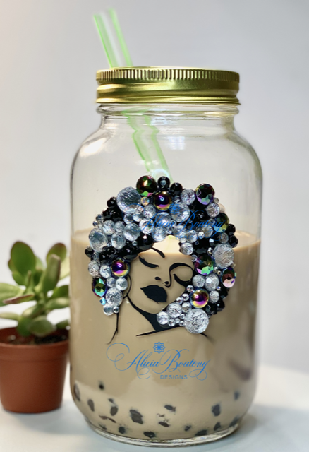AFRO Glam Mason Jar Collection with matching tea bling infuser,