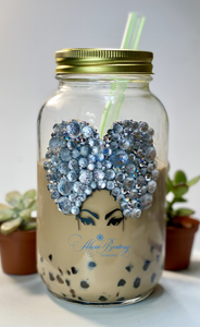 AFRO Glam Mason Jar Collection with matching tea bling infuser, Iced tea, Lemonade, Sweet tea, Bubble tea