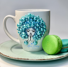 Load image into Gallery viewer, AFRO Glam Collection (Tiffany) Aquamarine / Teal Pearls coffee tea cup Afrocentric bling cup