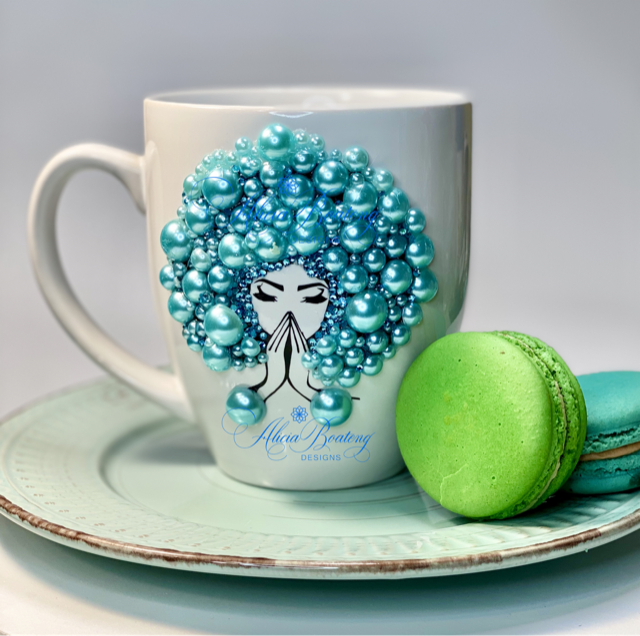 AFRO Glam Collection (Tiffany) Aquamarine / Teal Pearls coffee tea cup Afrocentric bling cup