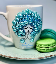 Load image into Gallery viewer, AFRO Glam Collection (Tiffany) Aquamarine / Teal Pearls Empowering Women coffee tea cup bling cup