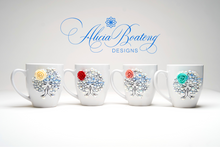 Load image into Gallery viewer, AFRO Glam Collection (Lolah) Pearl with accent flower, coffee tea cup Afrocentric bling cup