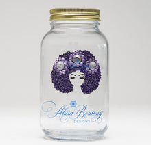 Load image into Gallery viewer, AFRO Glam Mason Jar Collection with matching tea bling infuser, Iced tea, Lemonade, Sweet tea, Bubble tea