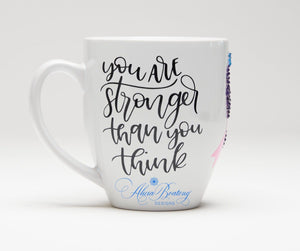 Stronger than Cancer Thyroid Cancer Coffee / Tea cup, Bling Coffee Cup,