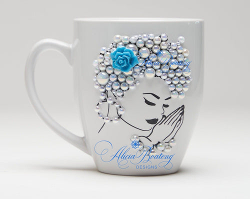 AFRO Glam Collection (FlorAnne) Pearl / Teal coffee tea cup  Afrocentric bling cup