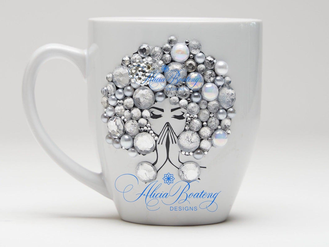 AFRO Glam Collection (Sylvia) Rhinestone / Pearls Empowering Women coffee tea cup bling cup