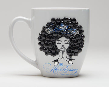 AFRO Glam Collection (Luna) Black / Rhinestones Empowering Women coffee tea cup bling cup