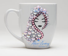 Load image into Gallery viewer, AFRO Glam Collection (Alyssa) Pink Pearl pink & white pearls Empowering Women coffee tea cup bling cup