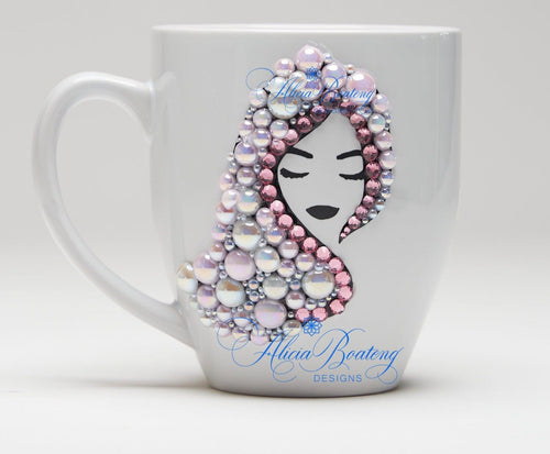 AFRO Glam Collection (Alyssa) Pink Pearl pink & white pearls Empowering Women coffee tea cup bling cup