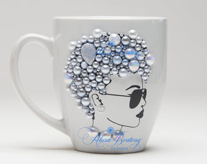 AFRO Glam Collection (Akoya) Pearl (silver / grey tones) coffee tea cup Afrocentric bling cup