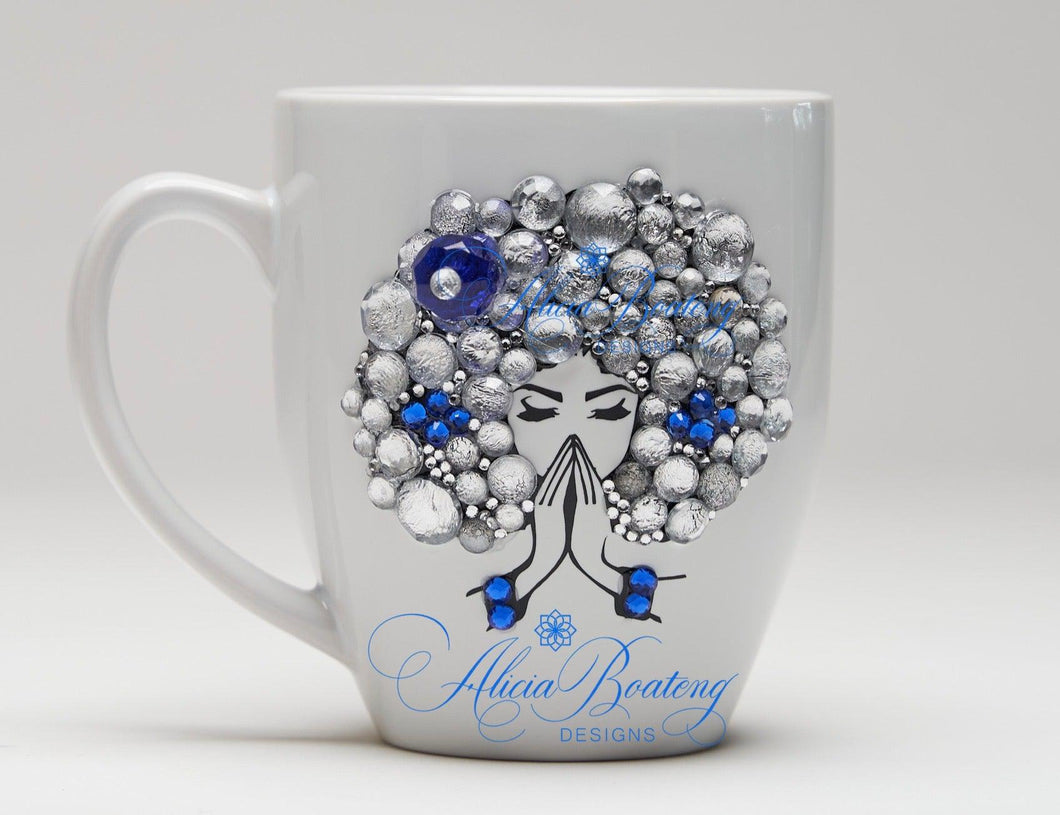 AFRO Glam Collection (Saphire) Rhinestones / Blue Empowering Women coffee tea cup bling cup
