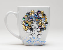 Load image into Gallery viewer, AFRO Glam Collection (Felicia)  Gold / Silver / Black coffee tea Afrocentric bling cup