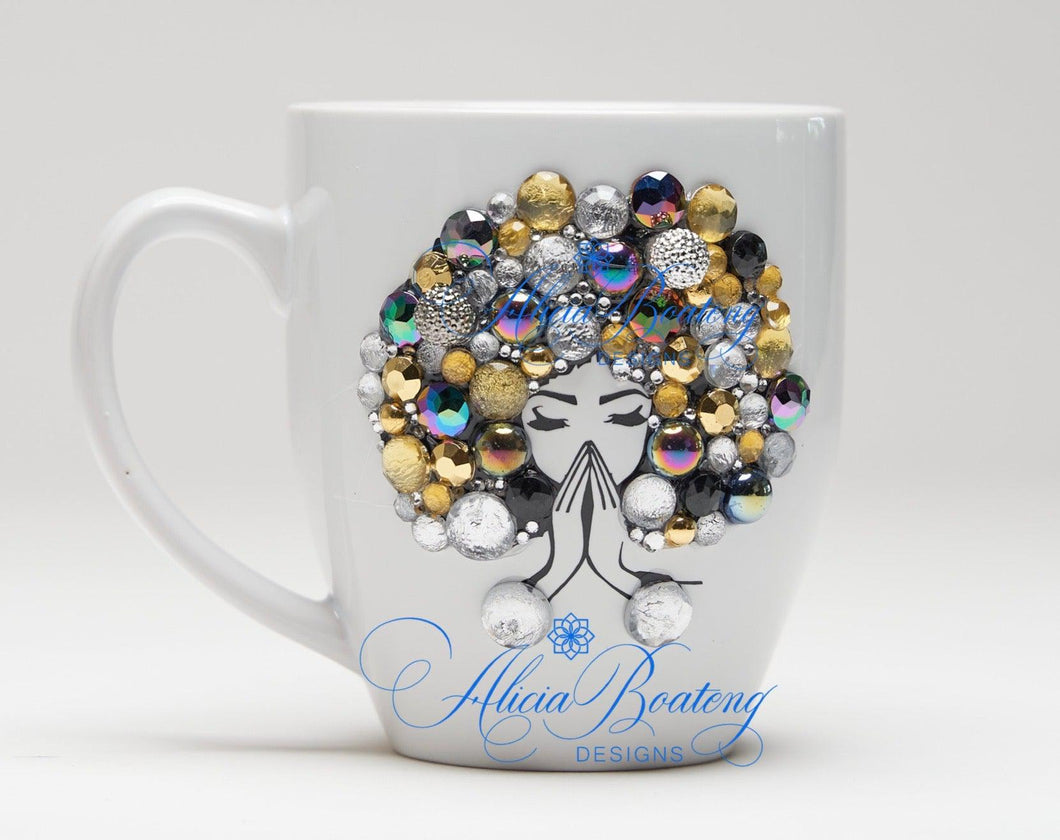 AFRO Glam Collection (Felicia)  Gold / Silver / Black coffee tea Afrocentric bling cup