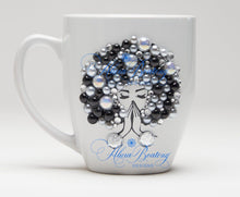 Load image into Gallery viewer, AFRO Glam Collection (Carmela) Black / Pearls Empowering Women coffee tea cup bling cup