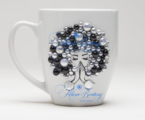 AFRO Glam Collection (Carmela) Black / Pearls coffee tea Afrocentric bling cup