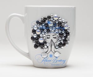 AFRO Glam Collection (Carmela) Black / Pearls Empowering Women coffee tea cup bling cup