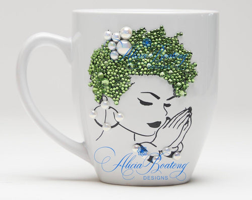 AFRO Glam Collection (Gloria) Green / Pearls  coffee tea cup Afrocentric bling cup