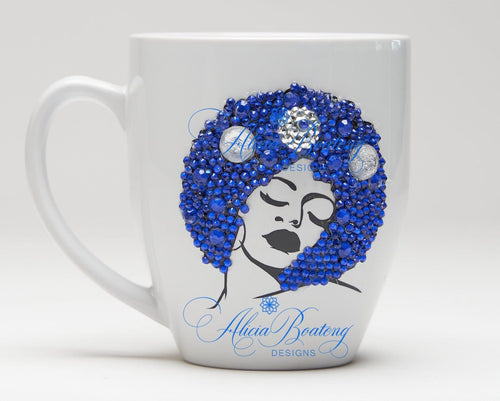 AFRO Glam Collection (Marina)  Blue coffee tea cup Afrocentric bling cup
