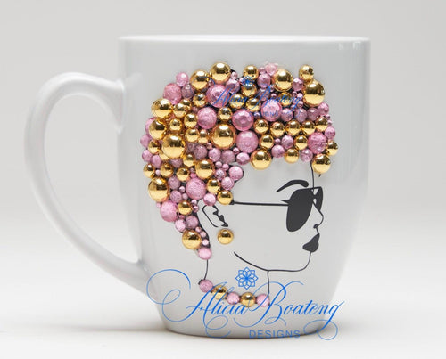 AFRO Glam Collection (Rebel)  Pink / Gold  coffee tea  Afrocentric bling cup