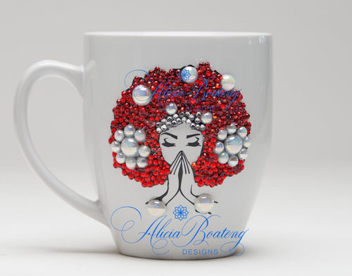 AFRO Glam Collection (Osceola)  Red / White coffee tea AfroCentric bling cup