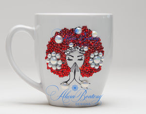 AFRO Glam Collection (Osceola)  Red / White Empowering Women coffee tea cup bling cup