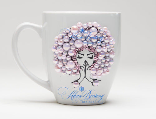 AFRO Glam Collection (Carrie) Pink Empowering Women coffee tea cup bling cup